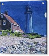 Scituate Light By Night Acrylic Print by Karol Wyckoff