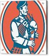 Scotsman Scottish Bagpipes Retro Acrylic Print by Aloysius Patrimonio