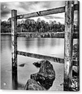 Scottish Loch With Fence Acrylic Print by John Farnan