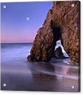 Sea Arch And Full Moon Over El Matador Acrylic Print by Tim Fitzharris