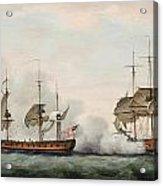 Sea Battle Acrylic Print by Francis Holman