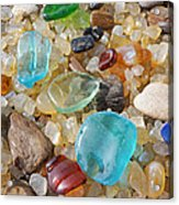 Seaglass Art Prints Agates Petrified Wood Acrylic Print by Baslee Troutman