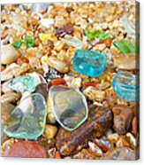 Seaglass Coastal Beach Rock Garden Agates Acrylic Print by Baslee Troutman