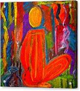 Seated Monk Acrylic Print by Nirdesha Munasinghe