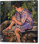 Seated Young Woman Acrylic Print by Marie Clementine Valadon