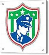 Security Guard Police Officer Shield Acrylic Print by Aloysius Patrimonio