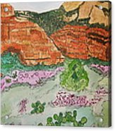 Sedona Mountain With Pears And Clover Acrylic Print by Marcia Weller-Wenbert