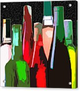 Seven Bottles Of Wine On The Wall Acrylic Print by Elaine Plesser