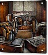 Sewing - A Chorus Of Three Acrylic Print by Mike Savad