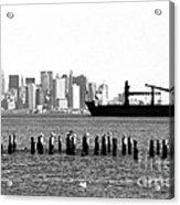 Ship In The Harbor 1990s Acrylic Print by John Rizzuto
