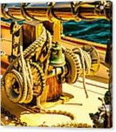 Ships Bell Sailboat Acrylic Print by Bob Orsillo