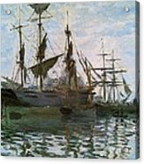 Ships In Harbor Acrylic Print by Claude Monet - L Brown