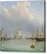 Ships Off Ryde Acrylic Print by Arthur Wellington Fowles