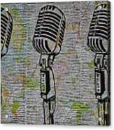 Shure 55s On Map Acrylic Print by William Cauthern