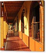 Sidewalk In Tlaquepaque District Of Guadalajara Acrylic Print by Elena Elisseeva