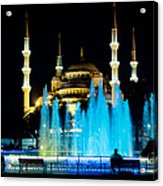 Silhouettes Of Blue Mosque Night View Acrylic Print by Raimond Klavins