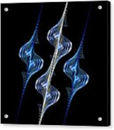 Silver And Blue Spirals Acrylic Print by Sandy Keeton