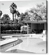 Sinatra Pool And Cabana Bw Palm Springs Acrylic Print by William Dey