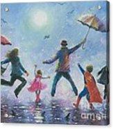 Singing In The Rain Super Hero Kids Acrylic Print by Vickie Wade