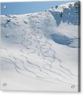 Ski Tracks In The Snow On A Mountain Acrylic Print by Keith Levit