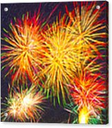 Skies Aglow With Fireworks Acrylic Print by Mark E Tisdale
