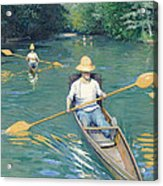Skiffs Acrylic Print by Gustave Caillebotte