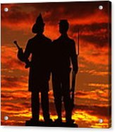 Sky Fire - 73rd Ny Infantry Fourth Excelsior Second Fire Zouaves-a1 Sunrise Autumn Gettysburg Acrylic Print by Michael Mazaika