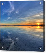 Sky Reflection In Boundary Bay Acrylic Print by Pierre Leclerc Photography