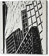Skyscrapers II - Block Print Acrylic Print by Christiane Schulze Art And Photography