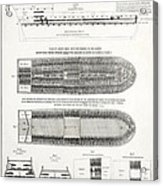 Slave Ship Middle Passage Stowage Diagram  1788 Acrylic Print by Daniel Hagerman