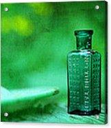 Small Green Poison Bottle Acrylic Print by Rebecca Sherman