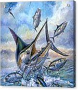 Small Tuna And Blue Marlin Jumping Acrylic Print by Terry Fox