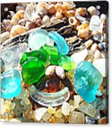 Smiley Face Beach Seaglass Blue Green Art Prints Acrylic Print by Baslee Troutman