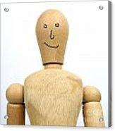 Smiling Wooden Figurine Acrylic Print by Bernard Jaubert