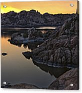 Smoky Sunset On Watson Lake Acrylic Print by Dave Dilli