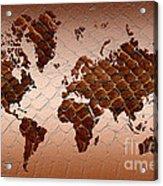 Snake Skin World Map Acrylic Print by Zaira Dzhaubaeva