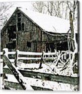 Snow Covered Barn Acrylic Print by Kimberleigh Ladd