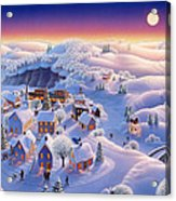 Snow Covered Village Acrylic Print by Robin Moline