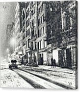 Snow - New York City - Winter Night Acrylic Print by Vivienne Gucwa