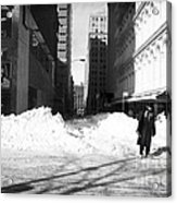 Snow On Broadway 1990s Acrylic Print by John Rizzuto