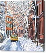 Snow West Village New York City Acrylic Print by Anthony Butera