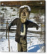 Snowcapped Scarecrow Acrylic Print by Anne Gilbert