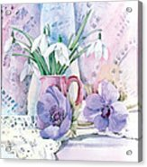 Snowdrops And Anemones Acrylic Print by Julia Rowntree