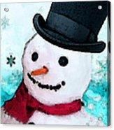 Snowman Christmas Art - Frosty Acrylic Print by Sharon Cummings