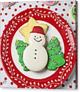 Snowman Cookie Plate Acrylic Print by Garry Gay