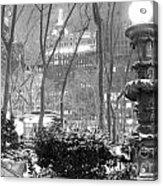 Snowy Night In Bryant Park II Acrylic Print by Miriam Cintron