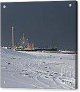 Snowy Piers Acrylic Print by Laura Wroblewski