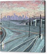 Soft Sunset Over San Francisco And Oakland Train Tracks Acrylic Print by Asha Carolyn Young