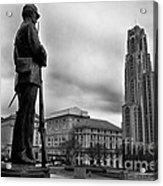 Soldiers Memorial And Cathedral Of Learning Acrylic Print by Thomas R Fletcher