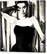 Sophia Loren - Black And White Acrylic Print by Absinthe Art By Michelle LeAnn Scott